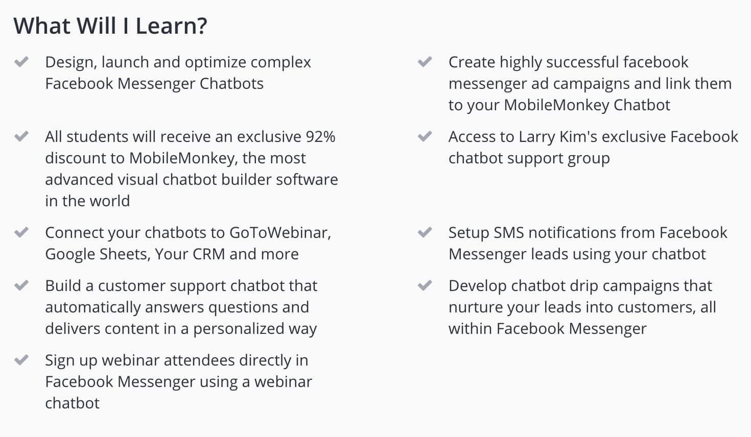 95% Off Facebook Marketing - Build Facebook Messenger Chatbots course